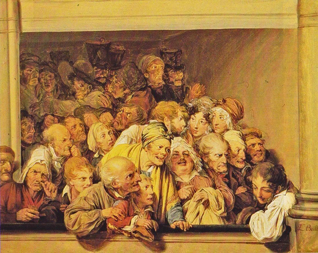 Kolmatta säätyä aitiossa. Louis-Léopold Boilly, Une loge, un jour de spectacle gratuit, 1830  [Jacqueline de Jomaron. Le Théâtre en France. Paris 1992]