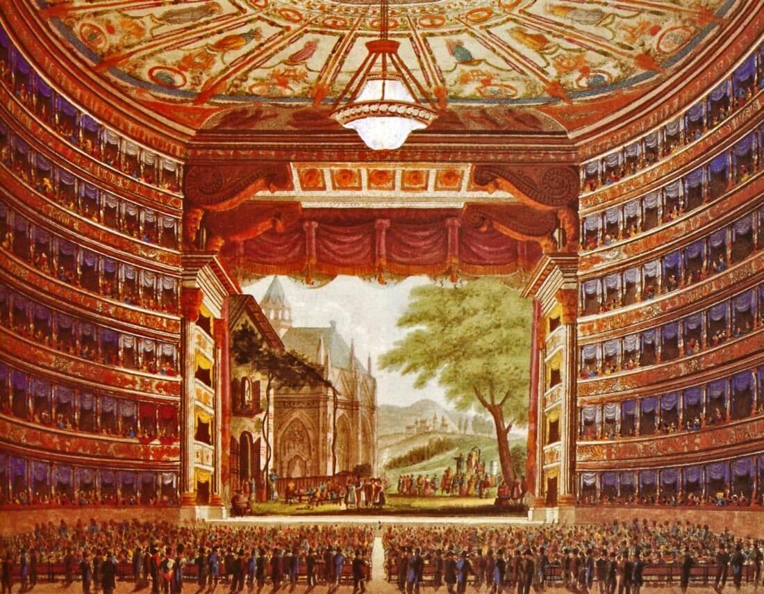 Milanon La Scala, anonyymi kuvitus 1800-luvulta. [Theater Wissenschafltiche Samlung der Universität zu Köln. Andreás Batta: Ooppera, säveltäjät, teokset, esittäjät. 2005]
