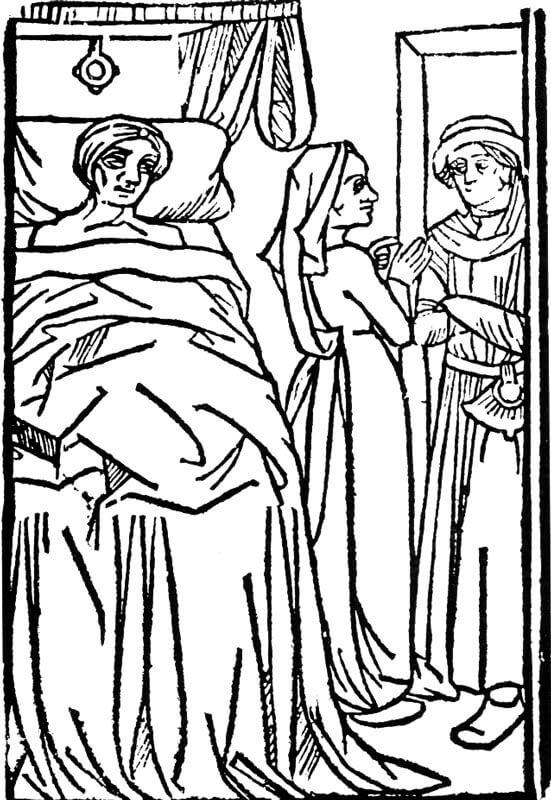 Mestari Patelin teeskeentelee olevansa kuolemaisillaan, 1400-luvun keskivaihe [Phyllis Hartnoll. A Concise History of the Theatre. London, 1968]