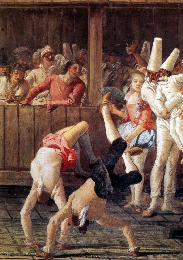 Pulcinella seuralaisineen, Giovanni Battista Tiepolon fresko [Cesare Molinari: La Commedia dell'arte. 1985]