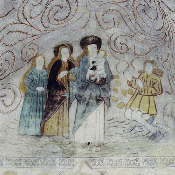 Neitsyt Maaria ja jonglööri. Kalkkimaalaus Hattulan kirkossa.  [P. O. Welin 1993. Museovirasto]