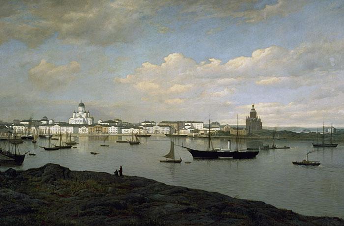 Oscar Kleinehin maalaus Helsinki vuodelta 1877.  [Jan Alanco. Helsingin kaupungin taidemuseo]