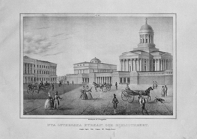 Senaatintori ja Nikolainkirkko vuonna 1838. Kivipiirros F. Tengströmin teoksesta Vuer av Helsingfors 1837–1838.  [Harald Malmgren. Museovirasto]