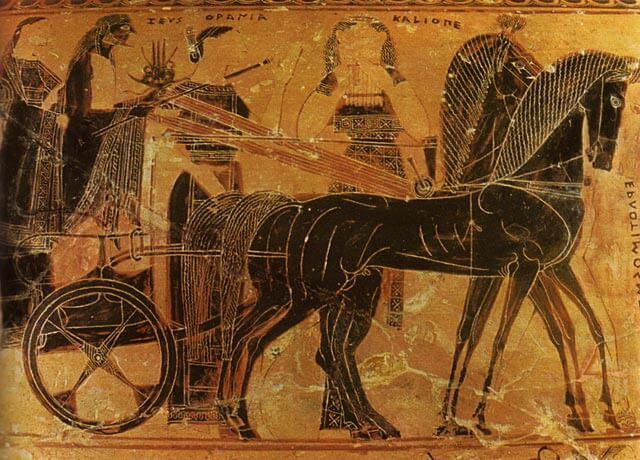 Zeus-jumalan vaunut, mustakuvioinen maljakkomaalaus, n. 575 eaa. [Arkeologinen museo, Firenze]