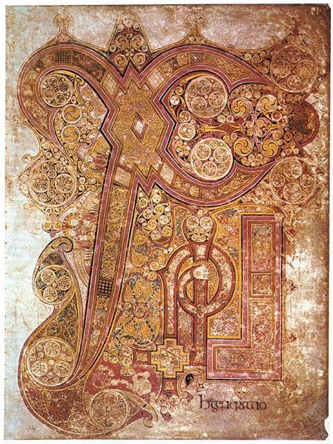 Kristuksen monogrammi, Kellsin kirja, 800-luvun alku, Irlanti [Trinity College Library, Dublin]