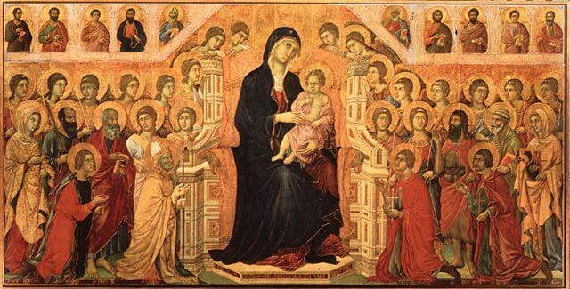 Duccio: Neitsyt Maria valtaistuimella, 1308–1311 [Museo dell'Opera del Duomo, Siena]