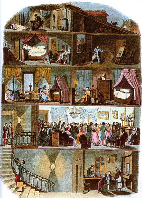 Pariisilaisen viisikerroksisen kaupunkitalon asukkaat, n. 1850 [Laviellen karrikatyyri]