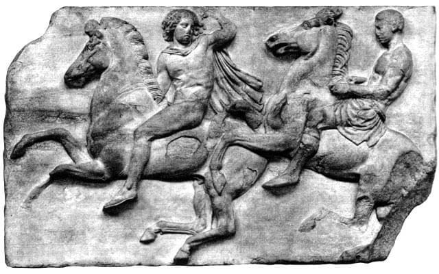 Ratsumiehiä Parthenonin friisistä, n. 440 eaa. [British Museum, Lontoo]