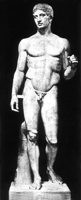 """Roomalainen kopio Polykleitoksen """"Keihäänkantajasta"""" [Museo Archeologico Nazionale, Napoli]"""