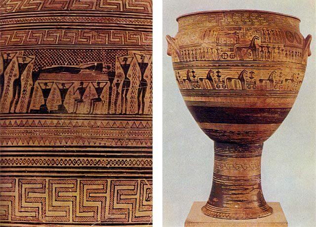 Geometrisen tyylin maljakko, jossa hautajaiskohtaus, 700-luku eaa. [Ateenan Kansallismuseo]