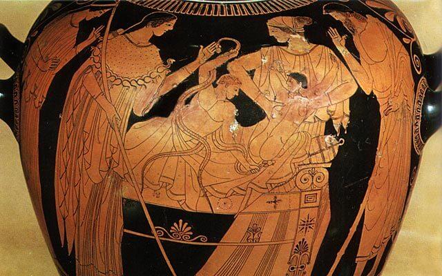 Herakles-lapsi kuristaa käärmeen, punakuvioinen maljakko, 400-luku eaa. [Louvre, Pariisi]