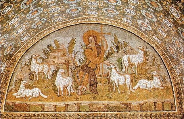 Hyvää paimenta esittävä mosaiikki, n. 425 [Calla Placidian mausoleumi, Ravenna]