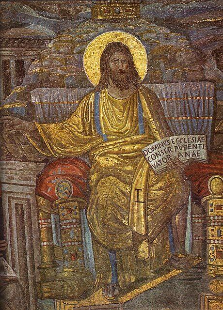 Parrakas Kristus, yksityiskohta mosaiikista, 400-luvun alku [Santa Prudeziana, Rooma]
