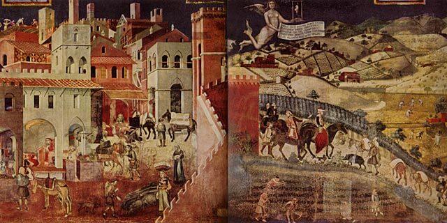 Ambrogio Lorenzetti: osa freskosta Hyvä hallitus, 1337–1339 [Palazzo Publico, Siena]