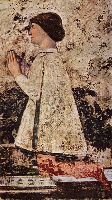 Piero della Francescan (n. 1416–1492) muotokuva Sigismondosta, Riminin hirmuvaltiaasta [Tempio Malatesta, Rimini]
